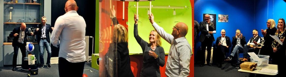 Event på Vitensenteret. Bilder av personer i utstillingen til Vitensenteret.